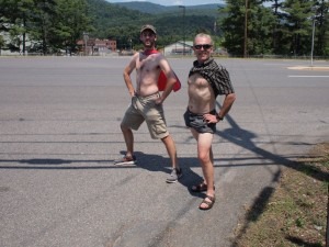 Justin and Wayne show some skin